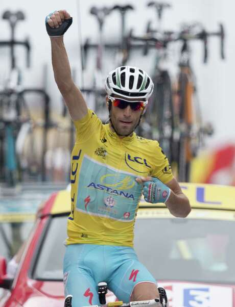 """Vincenzo Nibali, crossing the Stage 18 finish line, says, """"It was important to win another stage in the Pyrenees."""" Photo: Peter Dejong / Associated Press / AP"""