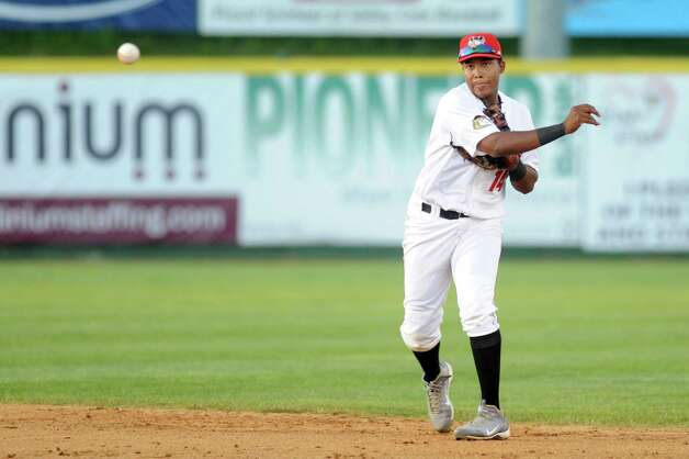 ValleyCats' Juan Santana makes the play to first during their baseball game against the Staten Island Yankees on Thursday, July 24, 2014, at Bruno Stadium in Troy, N.Y. (Cindy Schultz / Times Union) Photo: Cindy Schultz / 00027873A