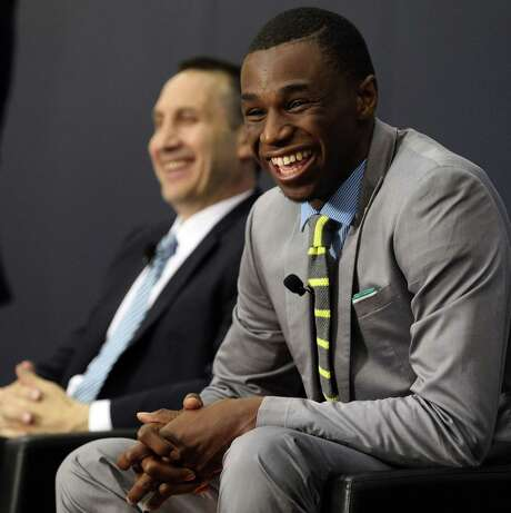No. 1 overall pick Andrew Wiggins is in Cleveland for now, but he has been linked to a blockbuster trade involving Kevin Love. Photo: Phil Masturzo / Akron Beacon Journal / Akron Beacon Journal