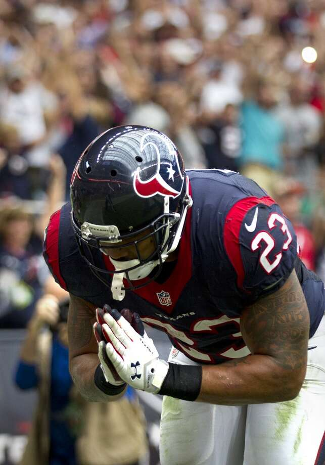 20144. Arian Foster, Texans running back. Age: 28. Last year: Honorable mention.Why he matters:Even with Johnson all in, the Texans won't terrify anyone with their passing game. If they're going to win, they'll have to be 100 percent old-school, relying on their ground game and defense. Foster makes or breaks the former pretty much by his lonesome. So, can he be the Arian of 2010-12 coming off back surgery? Does he love the game, or his teammates, enough to fearlessly throw himself into the fray all over again? He already got his big payday and the coaches who won his loyalty after giving him a chance as an undrafted free agent have all been fired. He's saying all the right things, but he's a tough read. Photo: Brett Coomer, Houston Chronicle