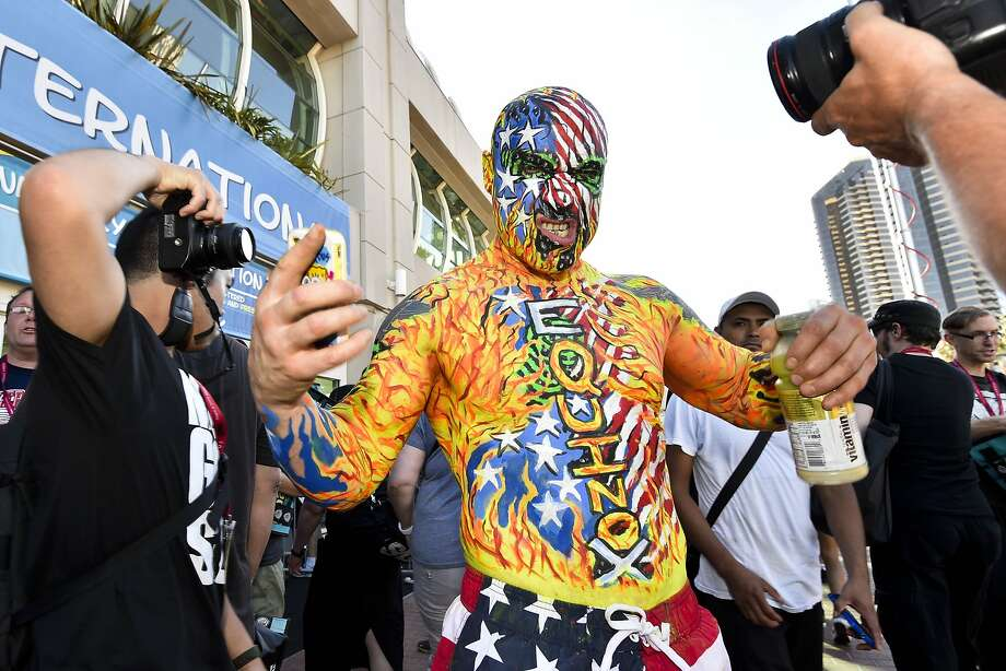 Chris Keyes poses for photographers outside the convention center during preview night at the 2014 Comic-Con International Convention held  Wednesday, July 23, 2014 in San Diego. (Photo by Denis Poroy/Invision/AP) Photo: Denis Poroy, Associated Press