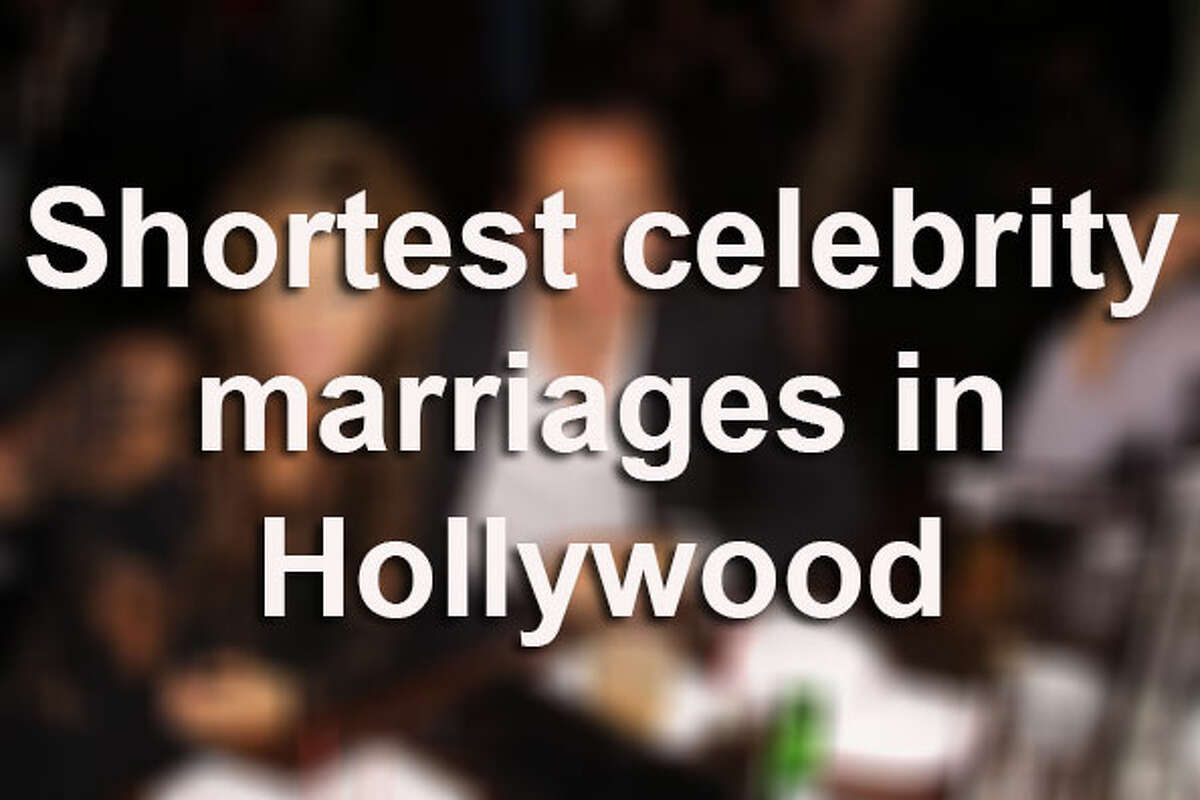 Lights, camera, romance! While on-screen romances have fairy tale endings, in reality, not all marriages survive long enough nowadays. Here are some of the shortest unions in Hollywood, surprisingly, making Kim Kardashian's 72-day marriage hardly the shortest in Hollywood. One classic doomed romance didn't even last long enough to consummate the blissful union.Source: The Hollywood Reporter