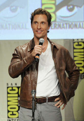 Actor Matthew McConaughey makes a surprise appearance at Comic-Con International 2014 at the San Diego Convention Center and debuts the trailer for his new mov