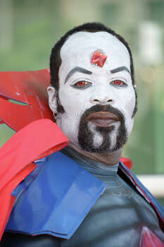 Davien O., dressed as Marvel villian Mr. Sinister, attends the first day of the 45th annual San Diego Comic-Con, in San Diego California July 24, 2014.  The four-day pop culture extravaganza celebrates film, TV, video games, comic books, costumes and other popular arts. More than 150,000 fans are expected to attend the sold-out event. Photo: ROBYN BECK, AFP/Getty Images / AFP