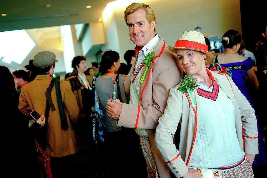 A pair of Doctor Who's from the fifth series of the show pose for photos during the 45th annual San Diego Comic-Con on July 24, 2014 in San Diego, California. An estimated 130,000 attendees are expected at this year's convention, which will celebrate the 75th anniversary of both Marvel Comics and the first Batman comic book. Photo: T.J. Kirkpatrick, Getty Images / 2014 Getty Images