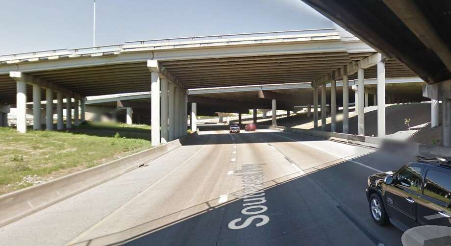 Highway 288 southbound at US 59 northbound Year built: 1979 Owned by: TxDOT  The support structure underneath the bridge is in poor condition. Photo: Google Earth Screengrab