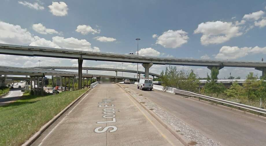 Highway 225 connector, over another highway connector at Loop 610Year built: 1974Owned by: TxDOTThe deck, or roadway surface, of this bridge is in poor condition. The bridge has been listed as structurally deficient since 2013. Photo: Google Earth Screengrab