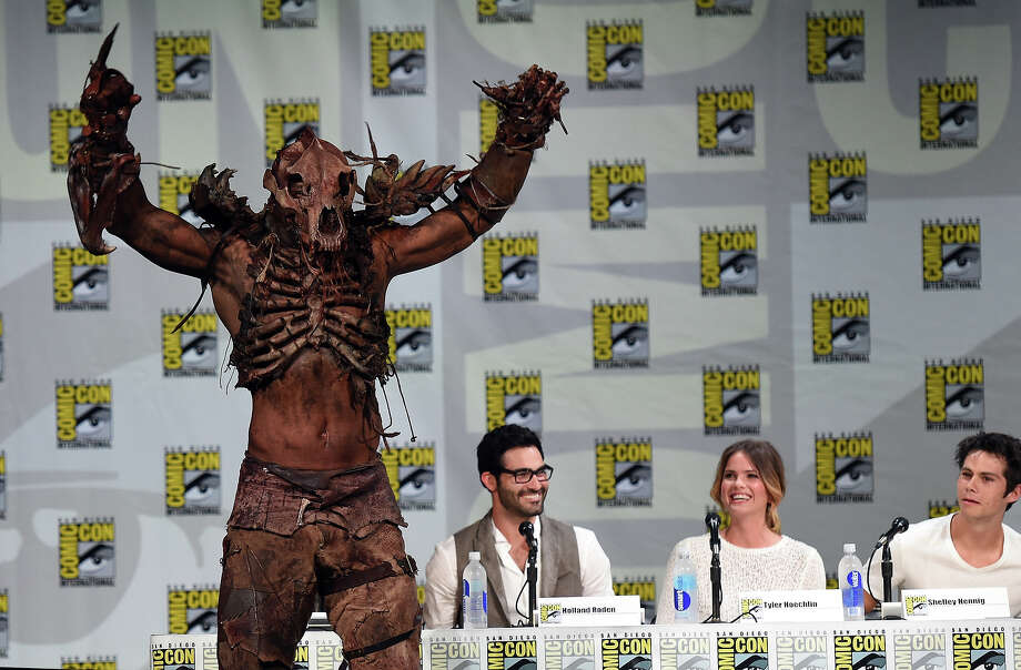 "(L-R) Actor John Duff, Tyler Hoechlin, Shelley Hennig and Dylan O'Brien attend MTV's ""Teen Wolf"" panel during Comic-Con International 2014 at the San Diego Convention Center on July 24, 2014 in San Diego, California. Photo: Ethan Miller, Getty Images / 2014 Getty Images"
