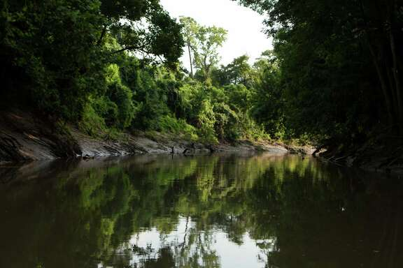 Part of the stretch of Buffalo Bayou that would be affected by the flood-control Memorial Park Demonstration Project.