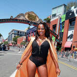 Dee Jay Palacio shows off her costume on the streets of downtown San Diego on July 24, 2014 in San Diego, California.