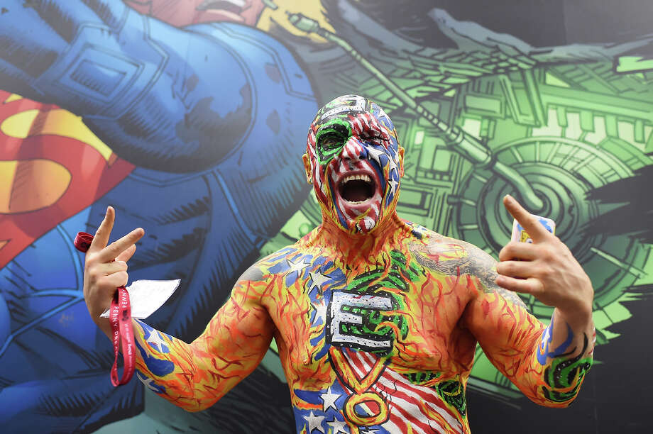 "An attendee called ""Nomad"" of the group Dive Bomber poses on the first day of the 45th annual Comic-Con in San Diego, California on July 24, 2014 at the San Diego Convention Center.  The four-day pop culture extravaganza celebrates film, TV, video games, comic books, costumes and other popular arts. More than 150,000 fans were expected to attend the sold-out event. Photo: ROBYN BECK, AFP/Getty Images / AFP"