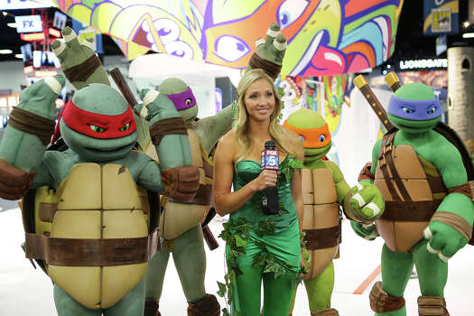 The Teenage Mutant Ninja Turtles get interviewed at the Nickelodeon booth during the 2014 San Diego Comic-Con International - Day 2 on July 24, 2014 in San Diego, California. Photo: Tiffany Rose, Getty Images For Nickelodeon / 2014 Tiffany Rose