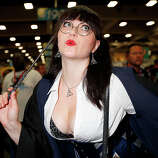 Actor/model Bernadette Bentley dresses as Moaning Myrtle from the Harry Potter movies at San Diego Convention Center on July 24, 2014 in San Diego, California.