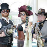 Costumed fans attend Comic-Con International on July 24, 2014 in San Diego, California.