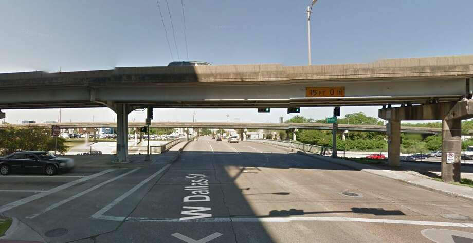 West Dallas Street over Interstate 45 Year built: 1955 Owned by: TxDOT The support system directly underneath the roadway surface is in poor condition. The bridge has been listed as structurally deficient since 2012. Photo: Google Earth Screengrab