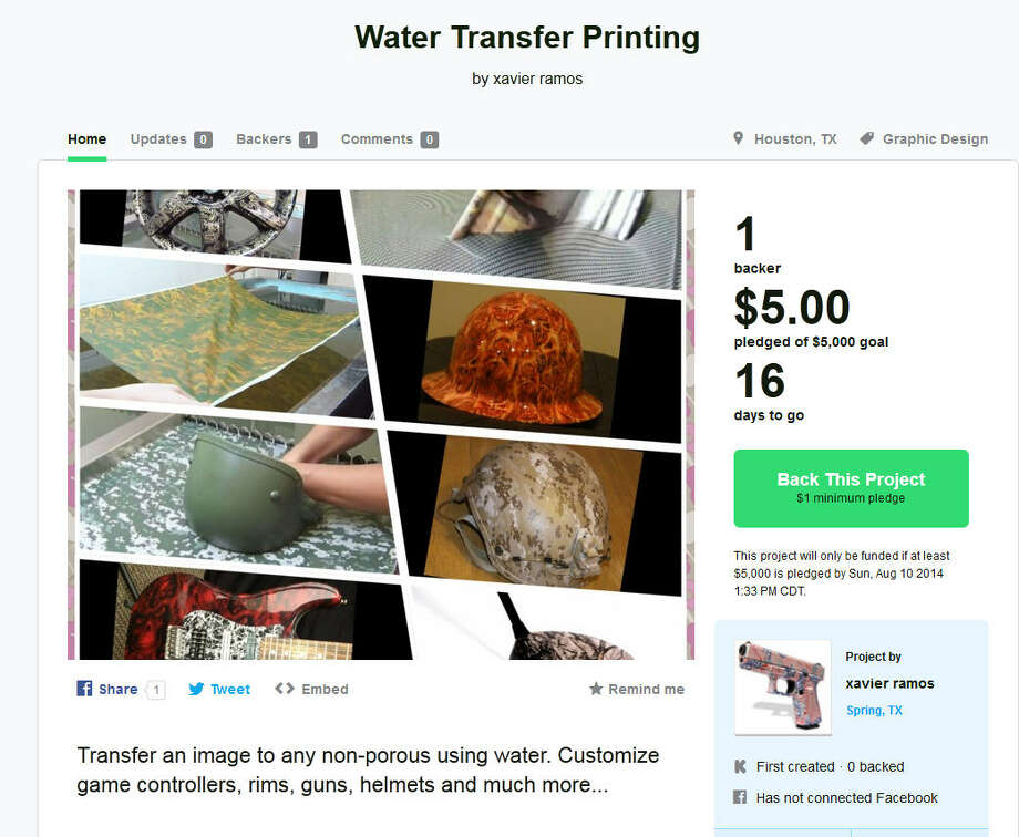 Water Transfer Printing – Spring, TexasXavier Ramos of Spring is looking to open a custom printing shop to add cool designs to items ranging from hats and helmets to guitars and guns. (Learn More on Kickstarter) Photo: Kickstarter.com