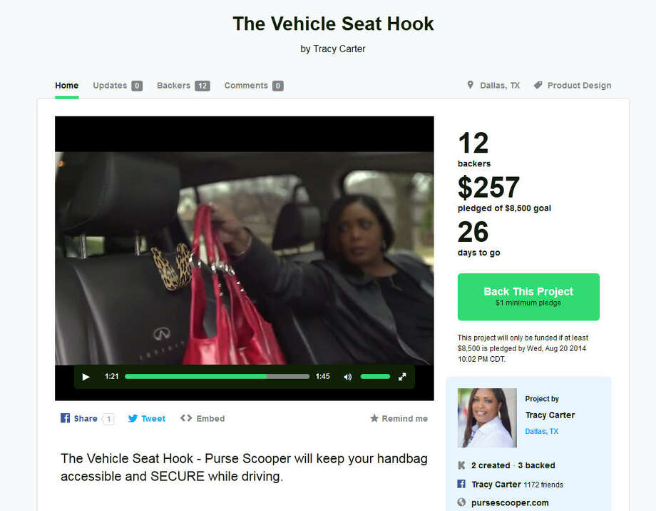 The Vehicle Seat Hook – Dallas, TexasThe genius of Dallas entrepreneur Tracy Carter's auto invention is its simplicity – a stylish hook that keeps a woman's purse close by and prevents it from spilling all over the floorboard. Just be sure to keep the passenger window rolled up. (Learn More on Kickstarter) Photo: Kickstarter.com