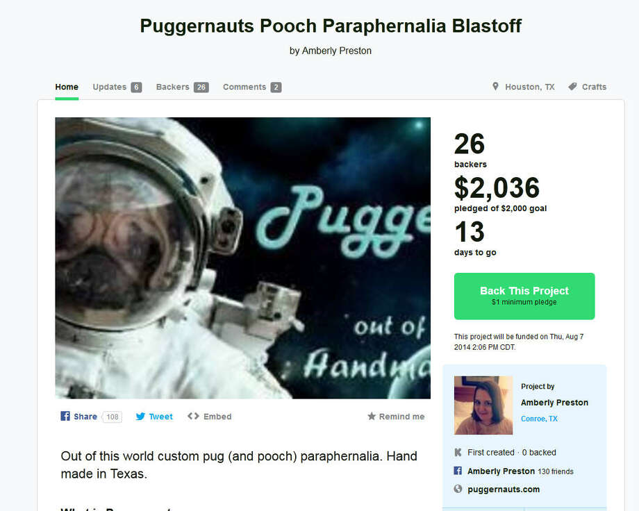 Puggernauts Pooch Paraphernalia – Conroe, TexasDog lover Amberly Preston started this at-home pet accessory company after deciding that the clothes and gadgets she made for her foster pets might have wider appeal. (Learn More at Kickstarter) Photo: Kickstarter.com
