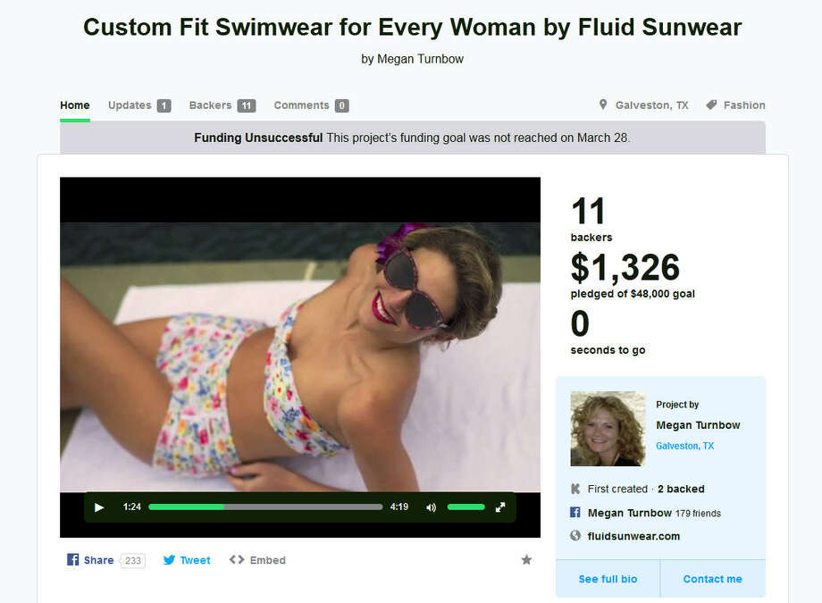 Custom fit swimwear by Fluid Sunwear – Galveston, TexasFunding for Megan Turnbow's swimwear line was unsuccessful on Kickstarter, but we're betting she wouldn't turn down financial backers that contact her via her Facebook page. (Learn More on Kickstarter) Photo: Kickstarter.com