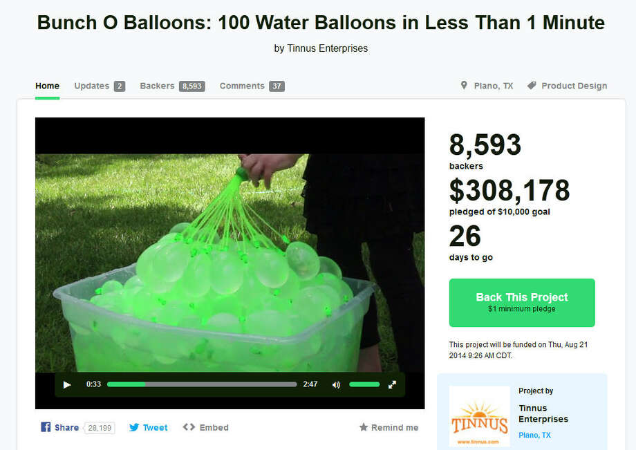 Bunch O Balloons – Plano, TexasBunch O Balloons by the Plano-based entrepreneurs at Tinnus Enterprises took the internet by storm this summer when its video of a small child simultaneously filling dozens of water balloons in mere seconds went viral on the internet. The company was looking to raise $10,000 via Kickstarter to fund expanded production; they instead raised hundreds of thousands (As of 12:30 p.m. on Friday $327,000 with with 26 days to go). (Learn More on Kickstarter)Check out these other cool Texas Kickstarter projects that may be the next to catch on. Photo: Kickstarter.com