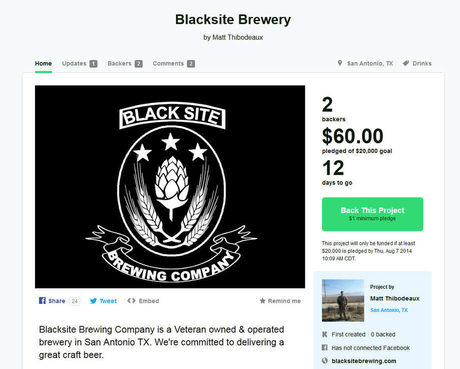 Black Site Brewing Company – San Antonio, TexasThis Central Texas brewery start-up was created by two Army veterans: Matt Thibodeaux who served in Afghanistan in 2013, and Shaun Eaves who was deployed in Kuwait during the '90s. (Learn More on Kickstarter) Photo: Kickstarter.com