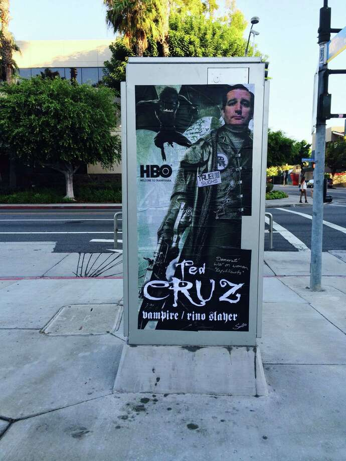 "Conservative street artist ""Sabo,"" based in southern California, gave Sen. Ted Cruz, R-Texas, the graffiti treatment after the freshman senator's recent feud with the HBO show ""True Blood."" Photo: Courtesy Of Sabo"