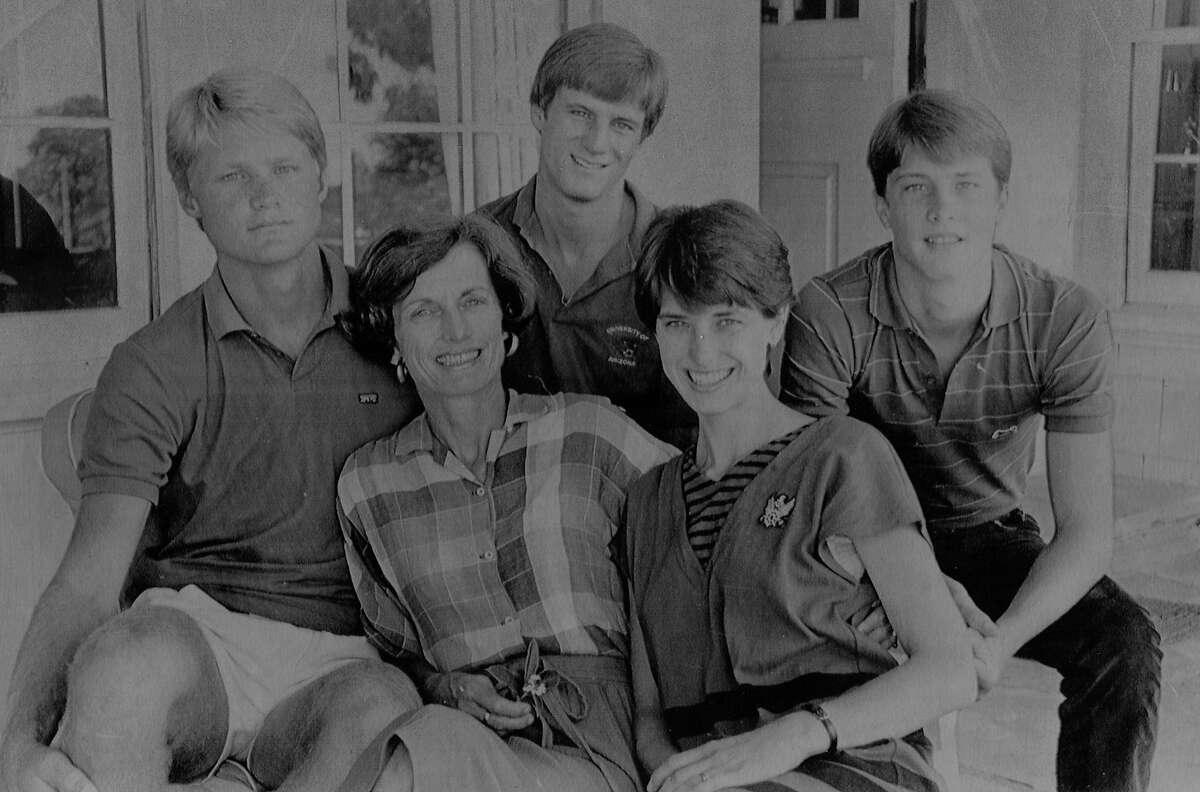 Steve Kerr (left), his mother Ann Kerr, John Kerr, Susie Kerr van de Ven and Andrew Kerr in a family portrait in July 1984 - six months after father, Malcolm, was slain.