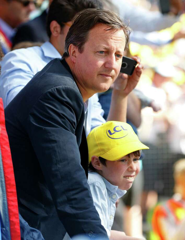 Arthur Elwen Cameron, son of British prime minister David Cameron David Cameron and his son watch the final of stage one of the Tour de France on July 5, 2014 in Harrogate, England. Photo: Max Mumby/Indigo, Getty / 2014 Max Mumby/Indigo