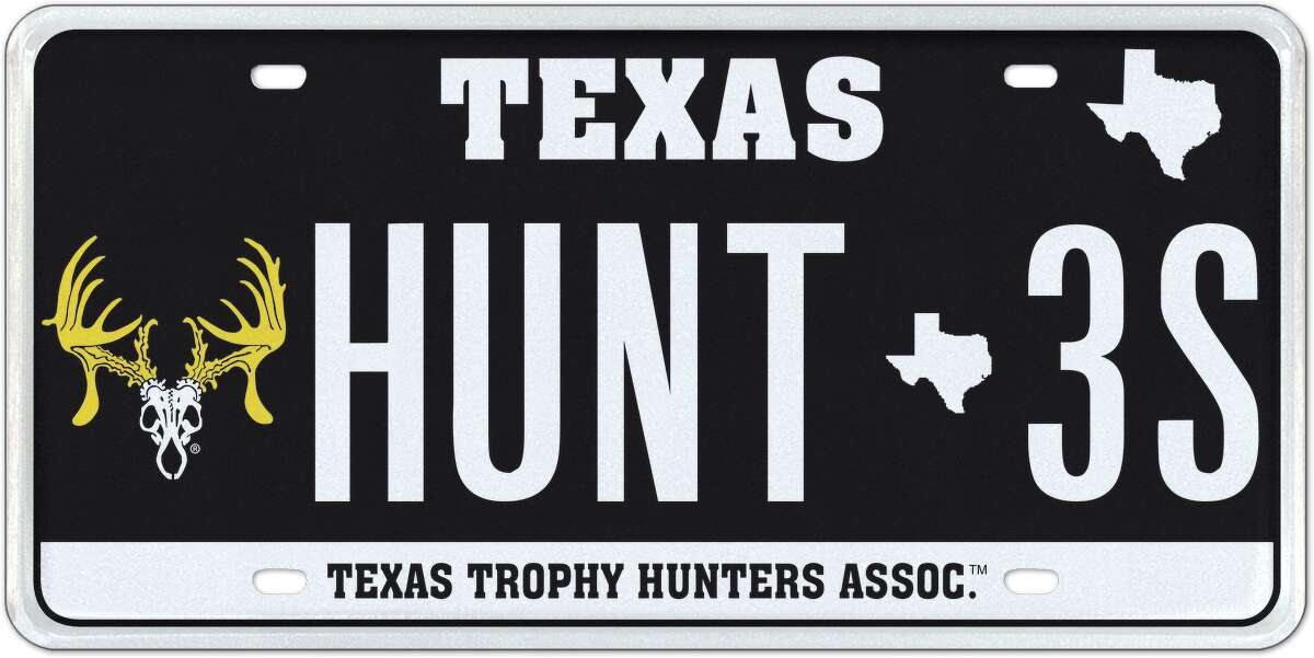 A custom license plate for the Texas Trophy Hunters Association made by My Plates. The Texas Department of Motor Vehicles contracted with My Plates to provide state services without incurring major costs to taxpayers, the San Antonio Business Journal reported.