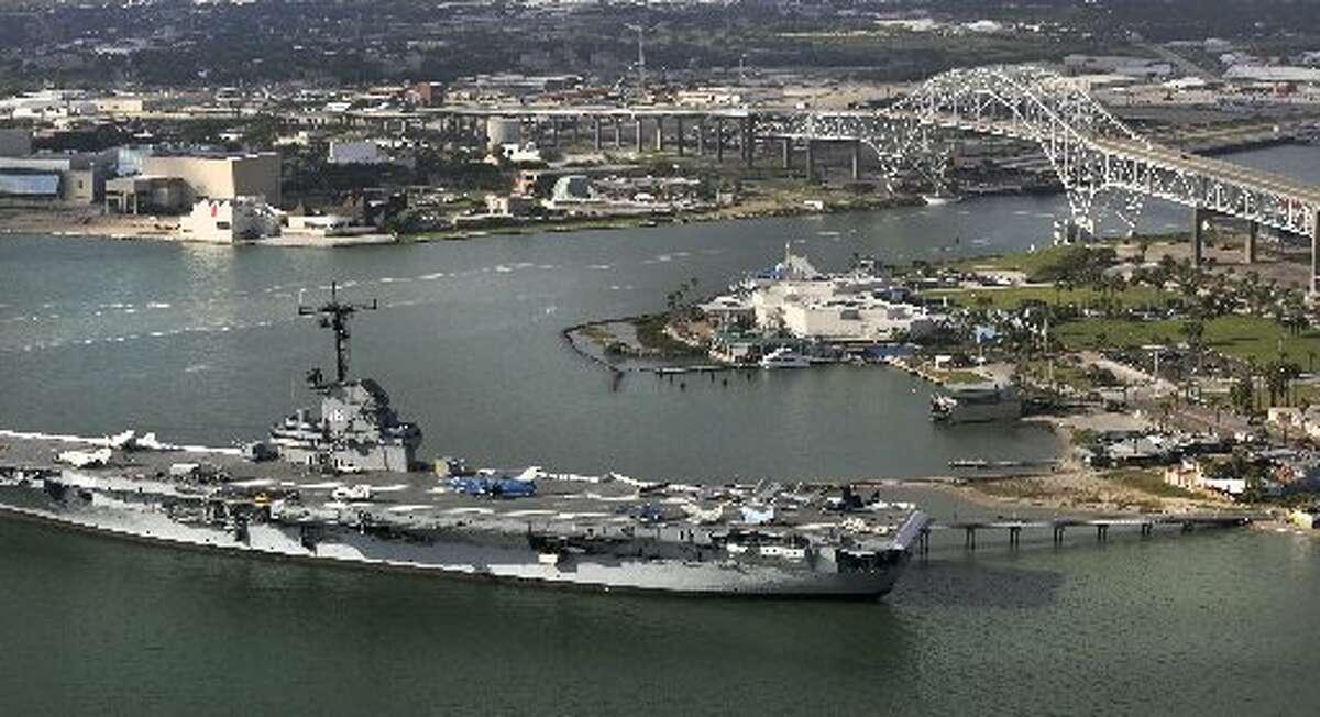 The USS Lexington near the Harbor Bridge, the opening to Port Corpus Christi on Monday, Oct. 28, 2013. (Bob Owen/San Antonio Express-News)