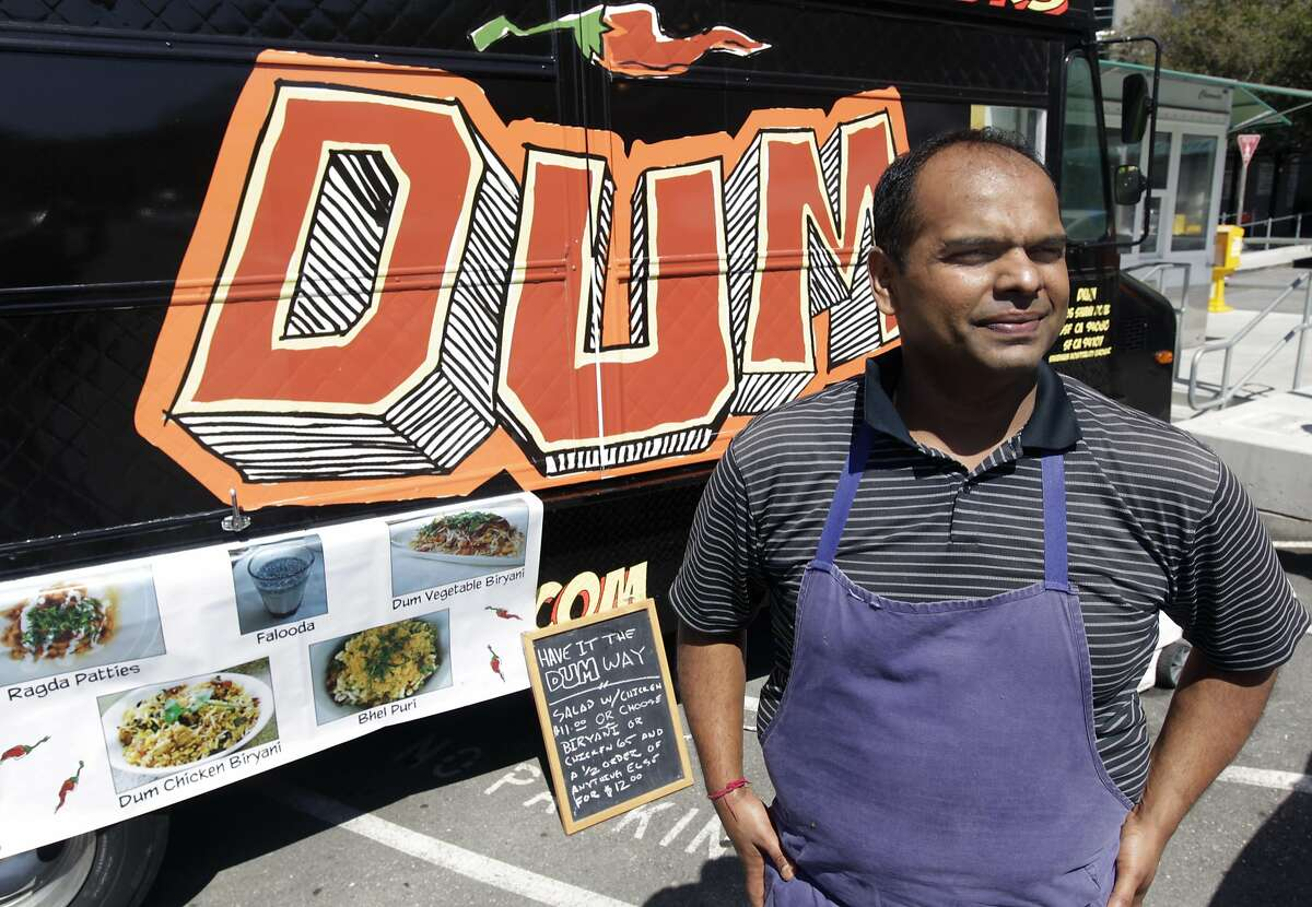 Rupam Bhagat is seen with his Dum food truck outside of General Hospital in San Francisco, Calif. on Thursday, July 24, 2014.