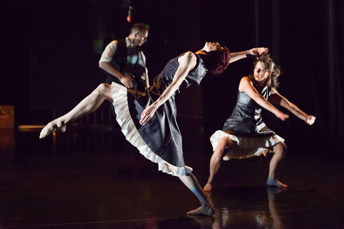 """CAPTION: (l to r); Ryan T. Smith, Wendy Rein and Kerry Demme of RAWdance in the world premiere of """"Turing's Apple"""" given July 25-27 at Z Space, San Francisco. Photo by Margo Moritz"""
