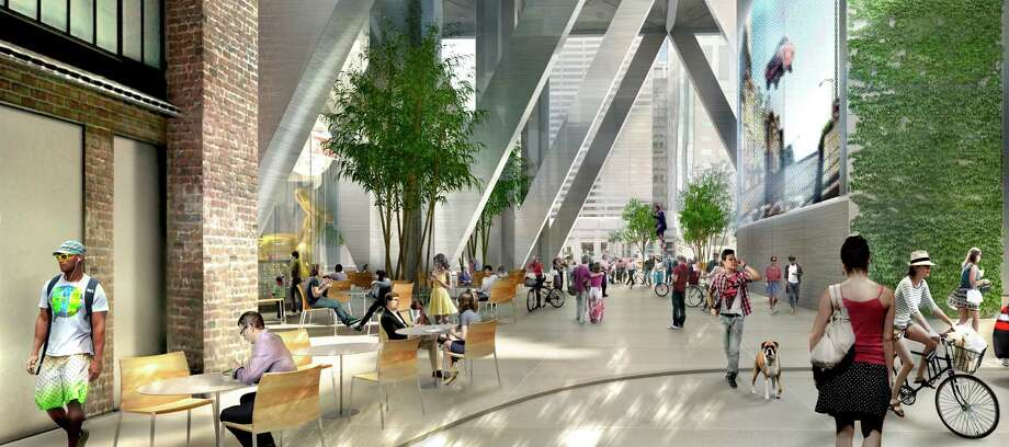 This is a depiction of the open-air plaza that would sit beneath 80 stories of offices and super-lux housing proposed last year and designed by Foster + Partners with the local firm Heller-Manus. And if you look real close — honest! — at the back there's a juggler on a high-rise unicycle. And bicyclist wearing the fedora: the helmet of the future? Photo: TMG/Foster + Partners / TMG/Foster + Partners / ONLINE_YES