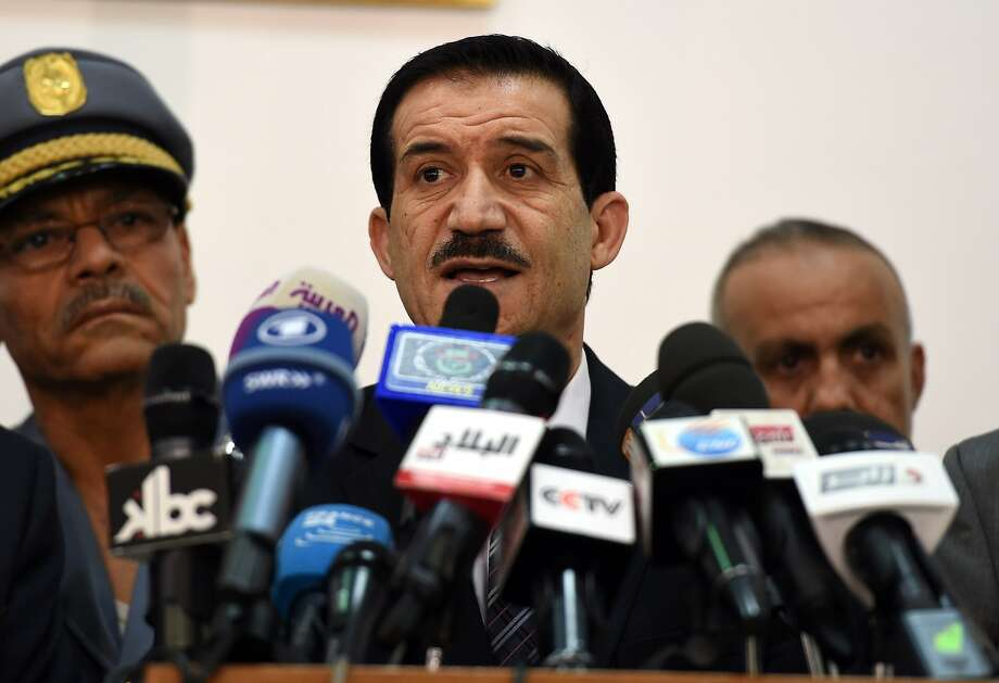 Transport Minister Amar Ghoul speaks to reporters about the downed jetliner in Algiers. Photo: Farouk Batiche, AFP/Getty Images