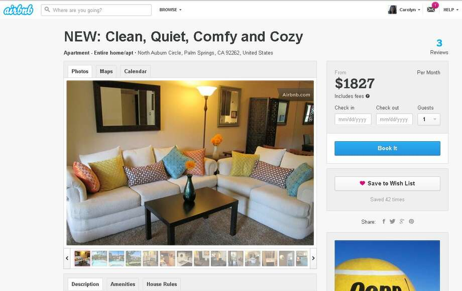 "The Airbnb listing for Cory Tschogl's Palm Springs condo describes it as ""clean, quiet, comfy and cozy."" Photo: Screenshot Of Airbnb Listing"