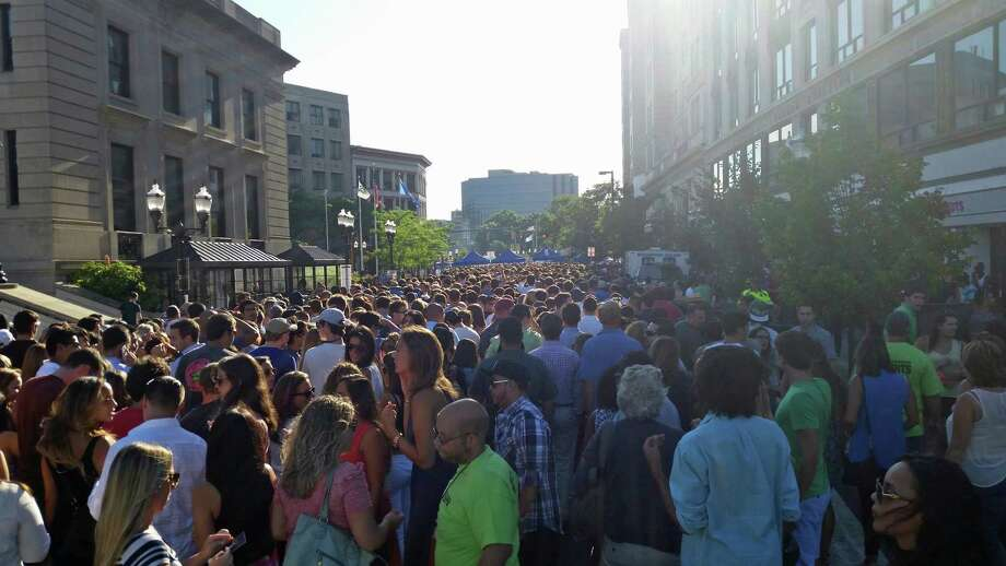More than 9,000 people crowded Columbus Park and surrounding streets for Thursday night's Alive@Five concert featuring 1990s rock bands Smash Mouth, Sugar Ray and Blues Traveler. Photo: Contributed Photo / Stamford Advocate Contributed