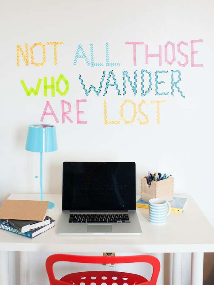 Instead of: Bare cinder block walls; white erase board overloadChoose: Colorful, removable washi tape to decorate walls, shelves, furniture, etc. Photo: HGTV