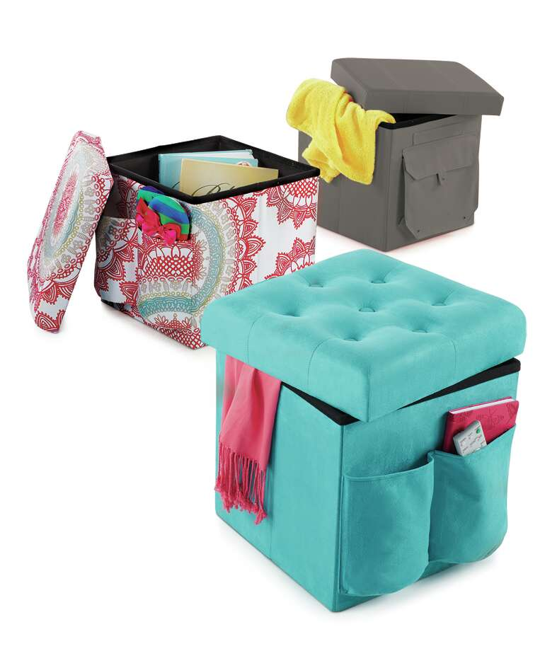 Instead of: A huge trunkChoose: Storage that doubles as seating or that folds up when not in use--or both! Sit and Store Folding Ottoman, $19.99 at Bed Bath & Beyond Photo: One Kreate, Bed Bath & Beyond