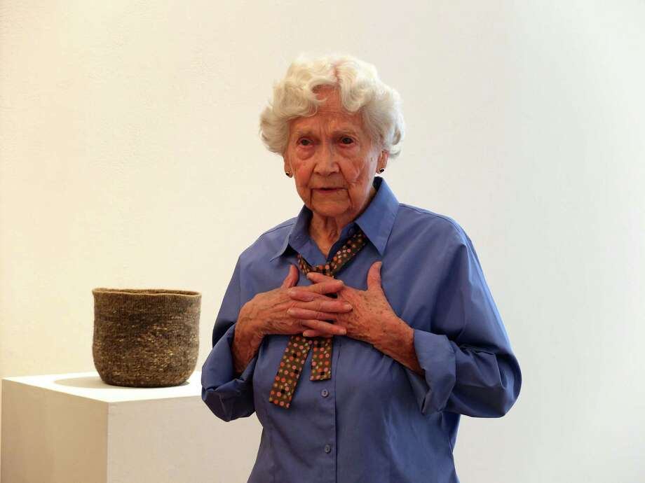 """Eleanor Evans, who turns 100 on Aug. 4, speaks at Moody Gallery about her solo exhibition, """"Some Truths to Learn from Leaves."""" Photo: Molly Glentzer / ONLINE_YES"""