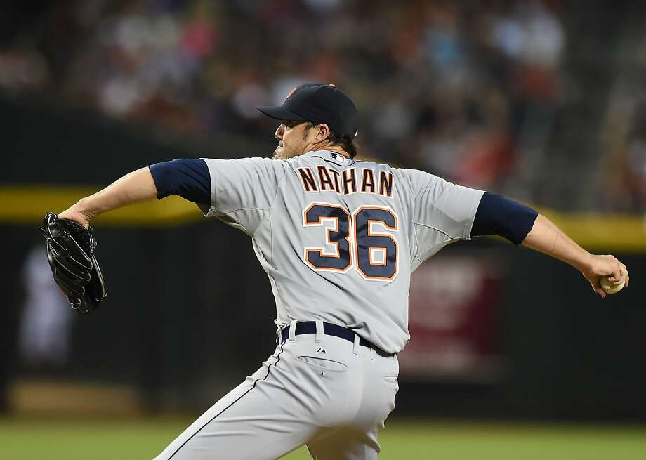 Joe Nathan, an All-Star closer with the Rangers in 2013, has stumbled badly this year after signing a two-year deal with the Tigers. Photo: Norm Hall, Getty Images
