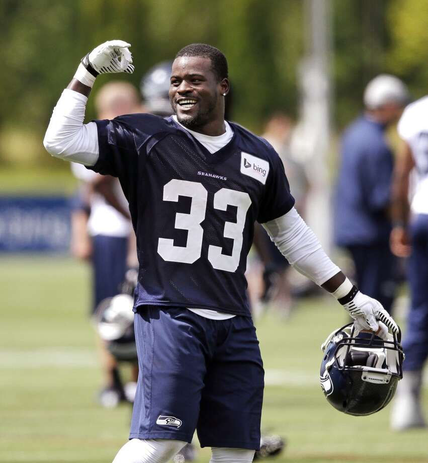 Seattle Seahawks' Christine Michael motions at an NFL football camp practice Friday. Photo: Associated Press