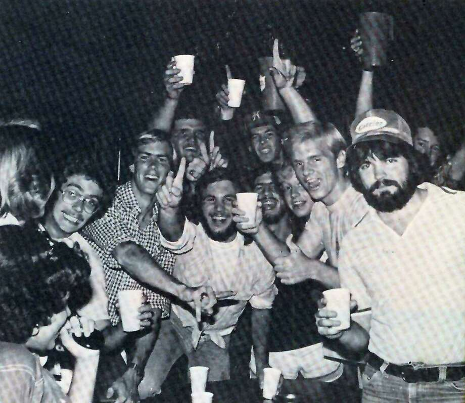 Partygoers enjoy a night out at the University Pub on the campus of St. Mary's University. The photograph that appeared in the Diamondback yearbook in 1978.