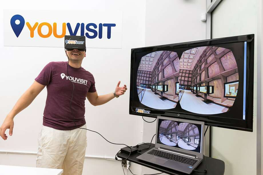 YouVisit co-founder Endri Tolka uses Oculus Rift to demonstrate one of the company's virtual college tours. Photo: Photo By YouVisit, YouVisit