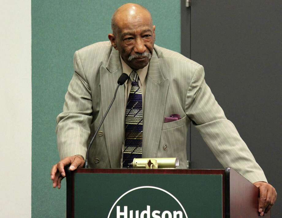 Coordinator of HVCC's College Academic Support Program Roy Pompey speaks at Hudson Valley Community College's black and Latino male leadership day for first-year students on Friday morning, July 25, 2014, in Troy N.Y. (Selby Smith/Special to the Times Union) Photo: Selby Smith / 00027927A