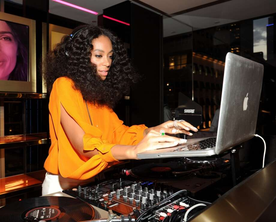 When not singing, being a mom and fashion trendsetter and getting into elevator bust-ups with her brother-in-law Jay-Z, Solange Knowles works as a DJ at many events, like this one for Chimes for Change in 2014. Photo: Kevin Mazur /Chime For Change/Ge, Getty Images For Gucci