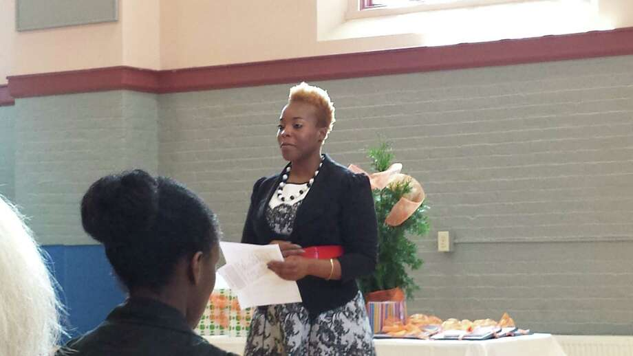YWCA of the Greater Capital Region Executive Director Daquetta Jones addresses graduates of the Jamison-Rounds Ready for Work program on July 25. (Submitted photo)
