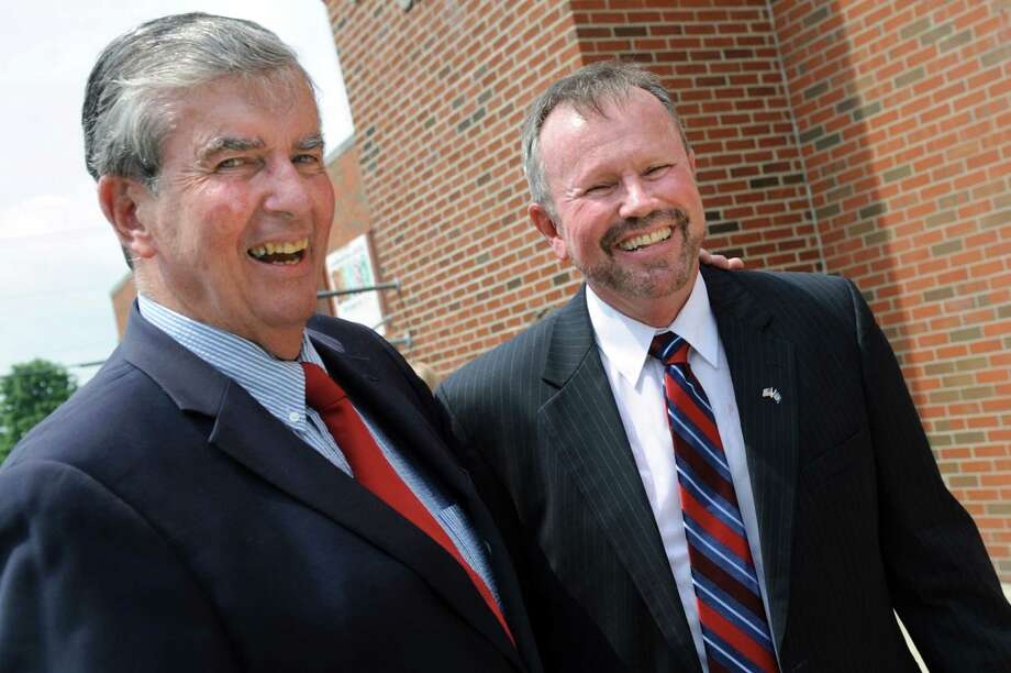 Sen. Neil Breslin, left, and Democratic candidate Brian Howard as he launches his campaign for State Senate on Tuesday, July 8, 2014,  at the Lansingburgh Boys and Girls Club in Lansingburgh, N.Y. Howard will challenge Sen. Kathy Marchione.  (Cindy Schultz / Times Union) Photo: Cindy Schultz / 00027663A