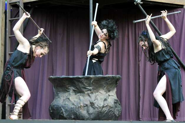 The witches stir the caldron during Saratoga Shakespeare Company's performance of Macbeth on Friday, July 25, 2014, at Congress Park in Saratoga Springs, N.Y. Final show times are Saturday at 6 p.m. and Sunday at 3 p.m. (Cindy Schultz / Times Union) Photo: Cindy Schultz / 00027716A