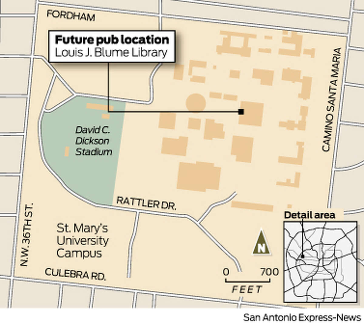 St. Mary's University in San Antonio will build a pub on campus, as shown in this map. Click through the gallery to see the schools that do or don't sell alcohol.