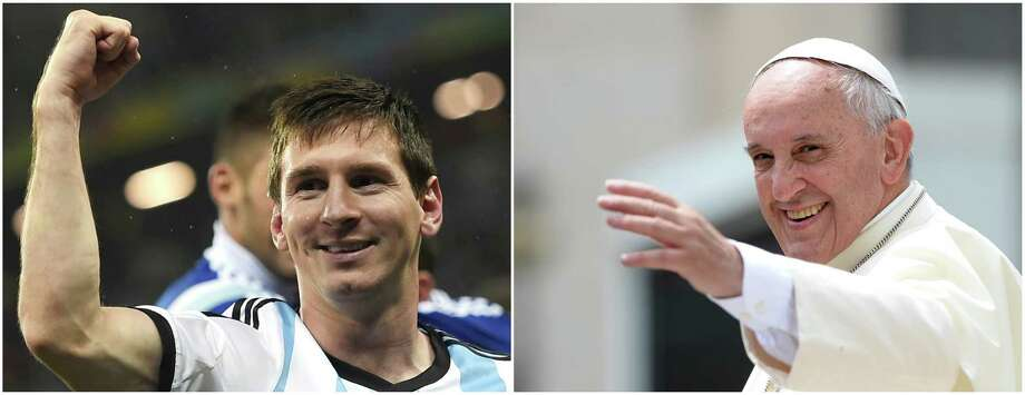 (FILE) Photo composition showing Argentina's forward and captain Lionel Messi(L) after winning their FIFA World Cup semi-final match against the Netherlands in Sao Paulo on July 9, 2014 and Pope Francis greeting the crowd at the end of his general audience at St Peter's square on June 25, 2014 at the Vatican.    AFP PHOTO /FABRICE COFFRINI/ FILIPPO MONTEFORTECOFFRINI/MONTEFORTE/AFP/Getty Images Photo: COFFRINI/MONTEFORTE, Staff / AFP